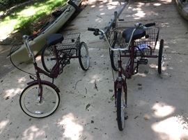 Adventure 3-Speed folding Trike great for camping, beach, resort living, or vacation.  Excellent condition! Baskets are great for shopping if living downtown where space is at a premium.  Like New!