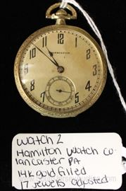"14 Karat Gold Filled 17 Jewels Pocket Watch by ""Hamilton Watch Company"" circa 1937"