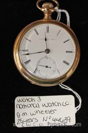 "J.M Wheeler 75 Years Pocket Watch by ""National Watch Company""  No. 44639 C.W.C. Co. Trade Mark"