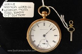 "P.F. Bartlett Foggs Patent Pocket Watch with Key by ""American Watch Company Waltham Mass."""