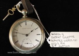 "J.F. Ryerson Dueber Silverine Pocket Watch with Key by ""National Watch Company"" Elgin FW"