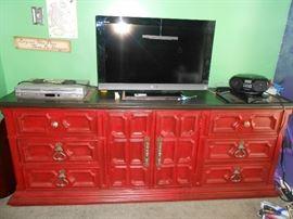 """Red dresser  - 32"""" TV- CD player"""