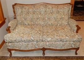 ANTIQUE SMALL SOFA WITH TINY TAPESTRY DESIGN FABRIC