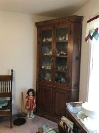 Antique Pine Corner Cabinet and antique Doll and oak spindle back chair