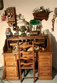 antique Oak S scroll Desk . Ladder Back Chair ,Antique Oak Wall Telephone , Lamps , Nut crackers , Doll