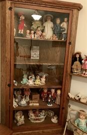 Hand Made Oak Doll Cabinet , Vintage Dolls