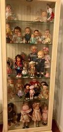 White Curio Cabinet , Vintage Dolls