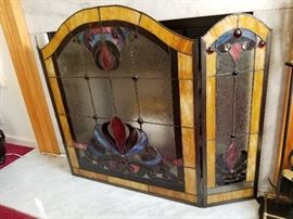 Stained Glass Jeweled Fireplace Screen