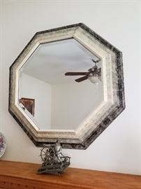 vintage FOSSIL STONE Beveled Frame Octagon Mirror...Icy Charcoal Silver coloring...Nice!