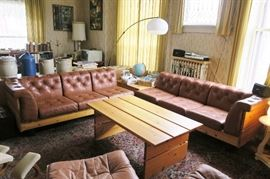Teak wood & leather sectional