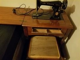 Singer 1946 Sewing Machine with Table and Seat