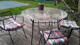 Metal and glass patio furniture