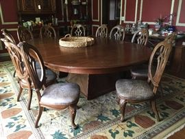 Custom made table  and 12 chairs from Taylor Brothers furniture