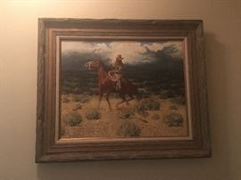 western art- original signed highly collectible oil--dan bodelson 1978 new mexico artist-  great deal on authentic art by known artist -  this is a rare sale with many collectible known and listed artist- see the pics as we progress