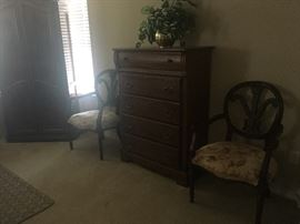 2 occasional chairs  and more-solid wood chest of drawers