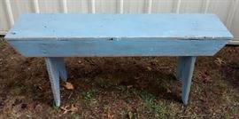 blue distressed bench