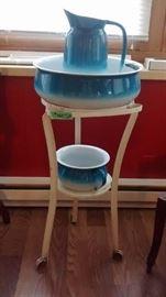 Blue enamelware wash stand pitcher basin