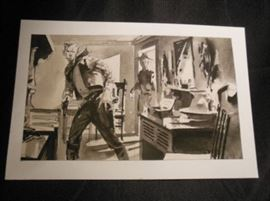 3.	Original Unsigned Western Themed Paint/Ink Drawing