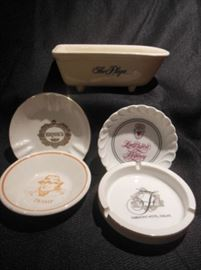 9.	Set of Five Ceramic Hotel Dishes and Ashtrays