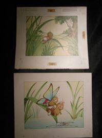 5.	Set of 2 C. Santoro Original Caterpillar Cartoon Drawings