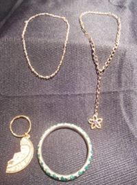 6.	Assorted Jewelry Lot – Bangle, Keychain, & Two Necklaces