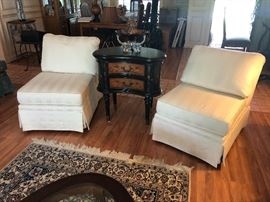 Pair of upholstered slipper chairs