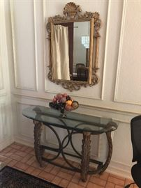 Glass top console entry table and mirror