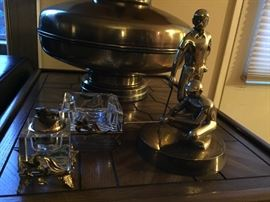 Vintage Lucite Lighter and Ashtray Set, Brass Statue