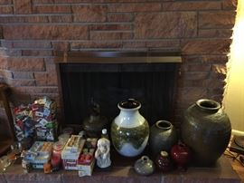 Matches from around the world, Candles (Tealight, Votive, Scented), Decorative Metal Pitcher, Thinker Statue, Ceramic Vases.