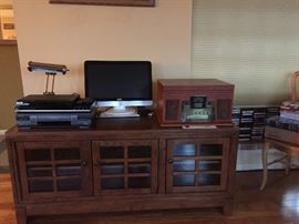 Entertainment Console/Book Case, Brass Desk Lamp, Electronics.