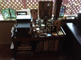 Childrens books, Bibles, Religious Icons and Artifacts from Historic Places (i.e rock from Gibraltar, Holy Water, Soil fro Jerusalem, etc.)
