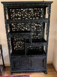 Heavily Carved Chinese Rosewood Etagere