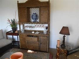 Large wicker - new in the past 2 years - cabinet with drawers