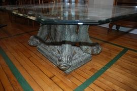 Vintage Glass Top Bronze Dolphin Coffee Table