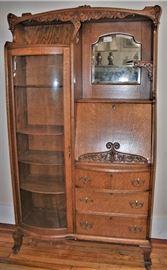 Victorian Golden Oak Curved Glass Secretary Desk