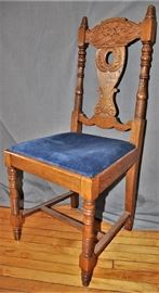 7 Antique Oak Dining Chairs, Carved Faces