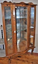 Vintage Oak Corner Cabinet, Curved Glass, Lighted