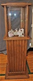 Vintage Oak Columnar Store Display Case