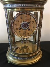 Simon Bros & Co . Cloisonné Mantel Clock Philadelphia Dated 1807 and inscribed  & with Key ! Gorgeous !!