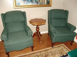 Pair wing chairs