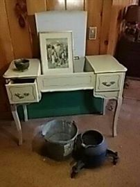 Dressing Table, Pail, Rolling Cast Iron