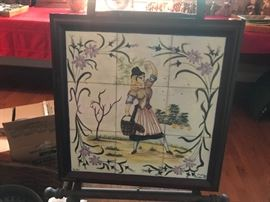 #7	Tile Painting of German Lady  20x20	 $100.00