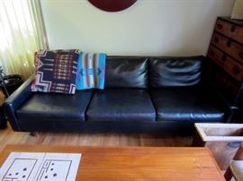 Mid-century 7 foot low profile black leather sofa, Pendleton blankets