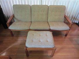 Domino Mobler teak tweed sofa w/ ottoman