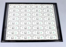 "United States 2003 Series Federal Reserve Notes Uncut $2 Dollar Bill Sheet, (32 Bills Total,) Framed, 30""W x 23""H"