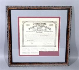 "Confederate States of America $1000 War Bond, No. 7500, Qty 6 Coupons, Framed and Matted, 2.5""W x 23""H"