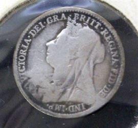 Hyderabad 30mm Silver 1 Rupee Coin, 1917 Finland .750 Silver 50 Pennia, 1952 Angola .720 Silver 10 Escudos, 1895 Great Britain .925 Silver 3P Coin
