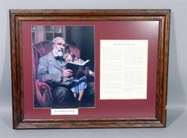 """The Christian General"" Print by William L. Maughn, Framed, w/ Description, 27.5""W x 21""H"