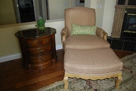 Chair and Ottoman, Marble Top Occasional Table