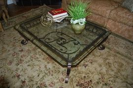 Glass Top Coffee Table, Area Rug, Decor